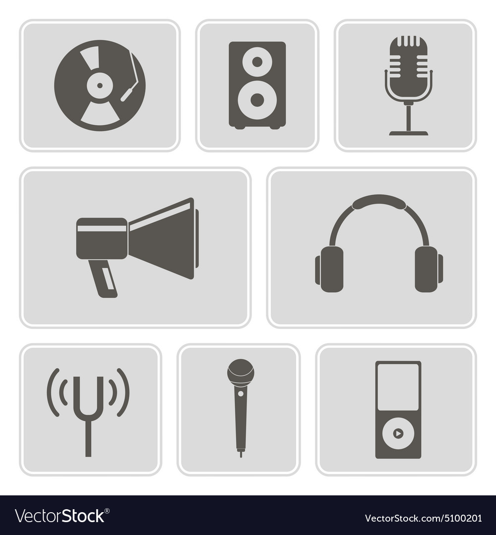 Icons with music and audio equipment vector