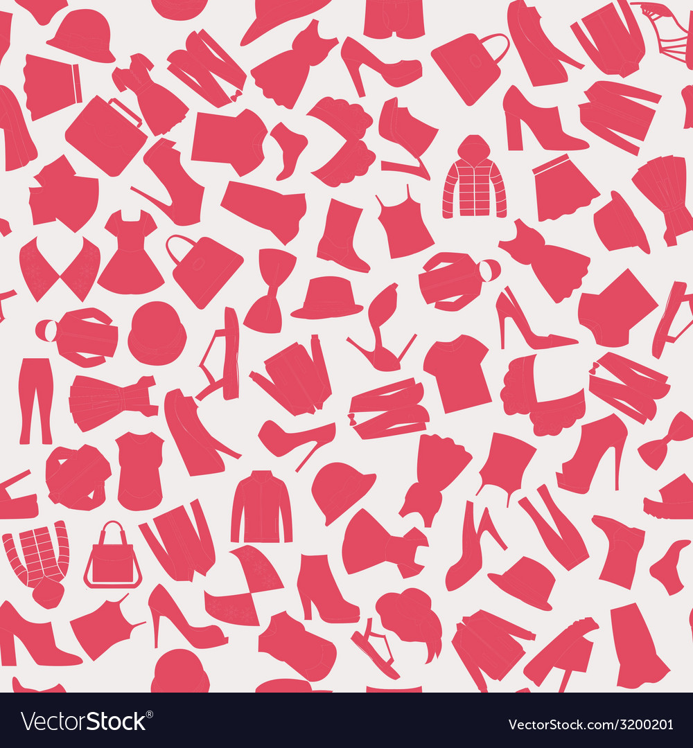 Seamless pattern of collection fashion obje vector