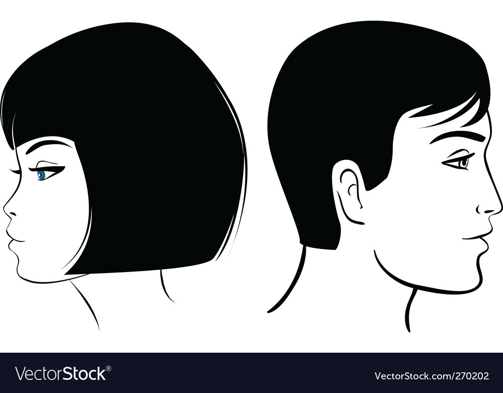 Face man and girl vector