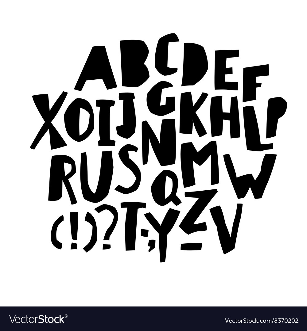 Paper cut alphabet black letters capital letters vector