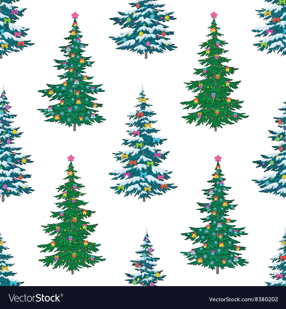 Seamless background christmas trees vector