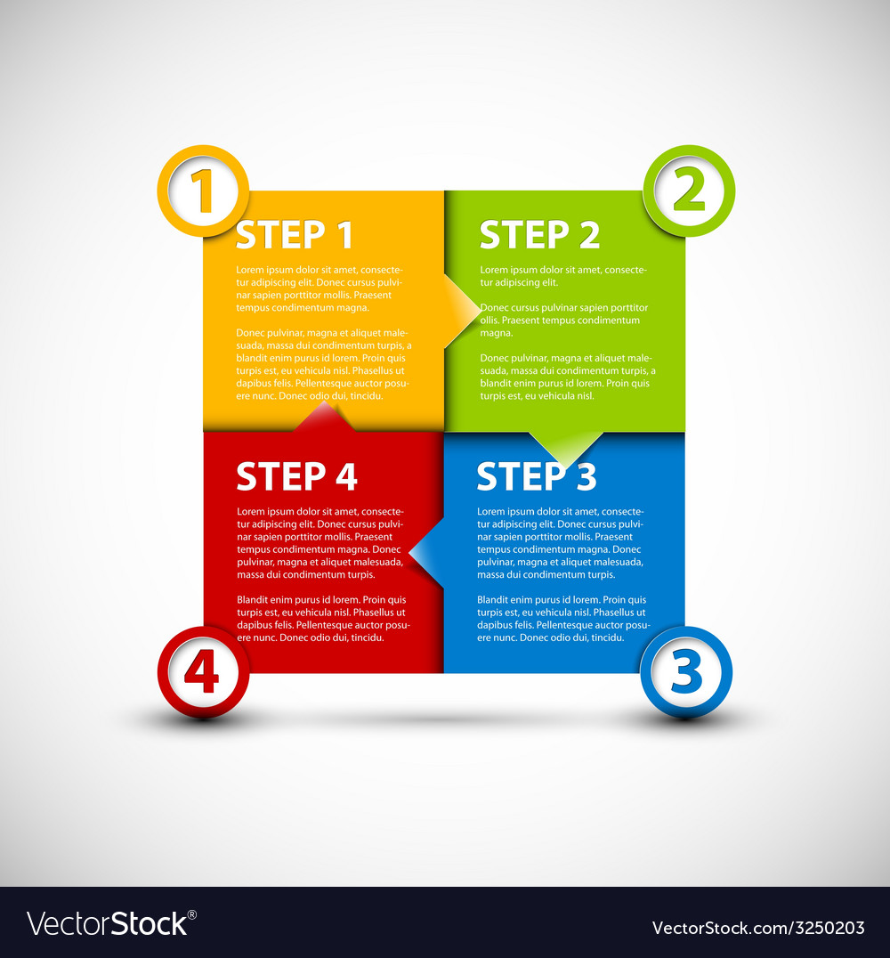 One two three four  paper steps vector