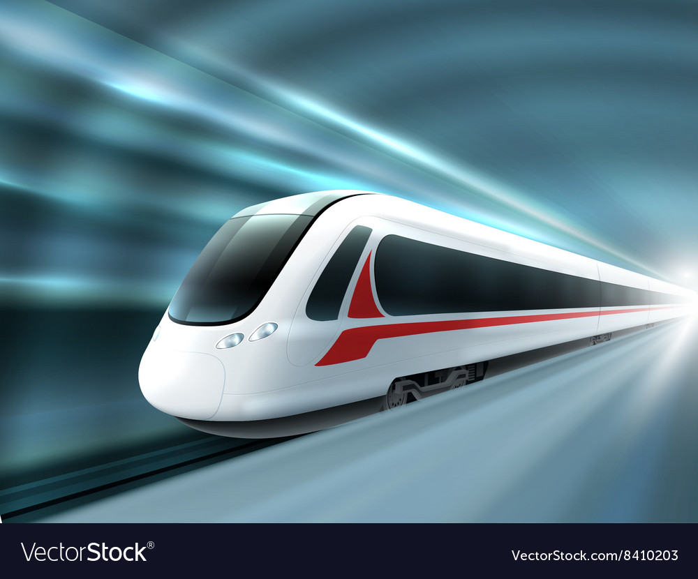 Speed train railway station realistic poster vector
