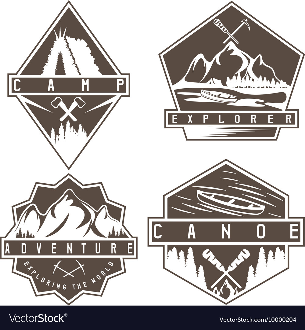 Canoe camping and adventure vintage labels set vector