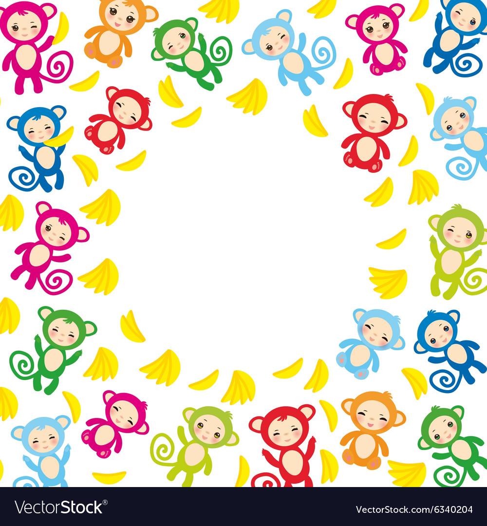 Card template funny green blue pink orange monkey vector