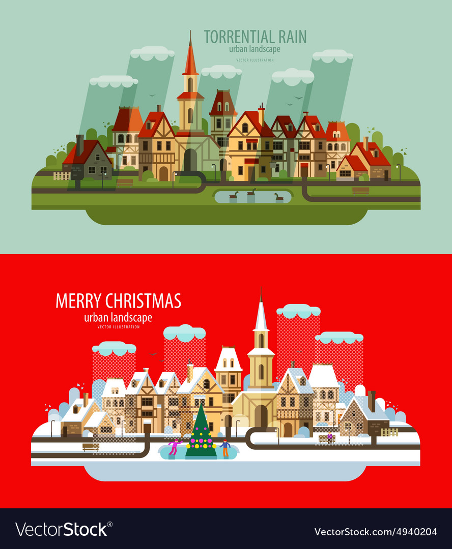 City landscape set of elements  house building vector