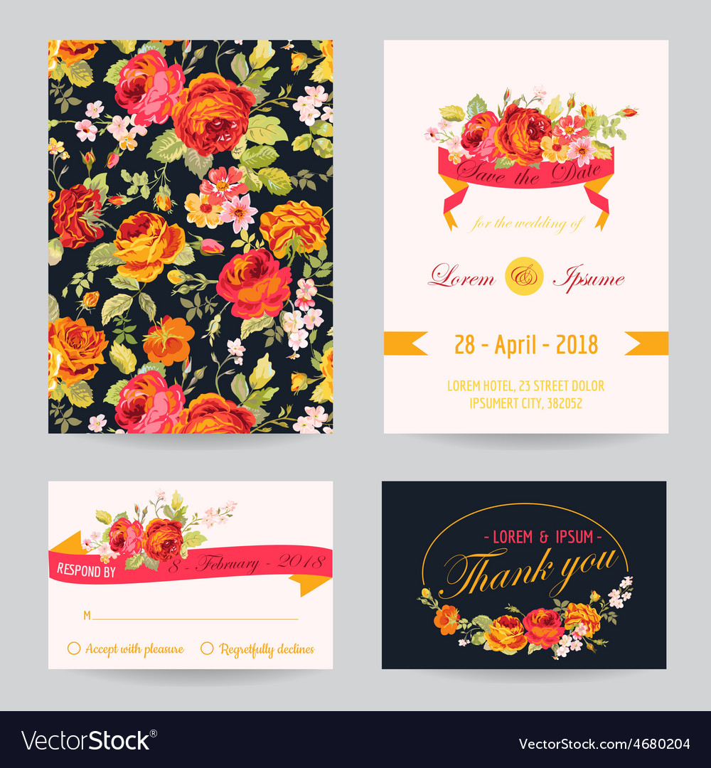 Invitation congratulation card set  for wedding vector