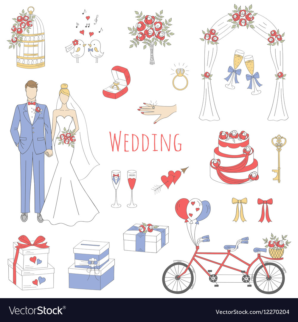Set of hand drawn wedding icons vector
