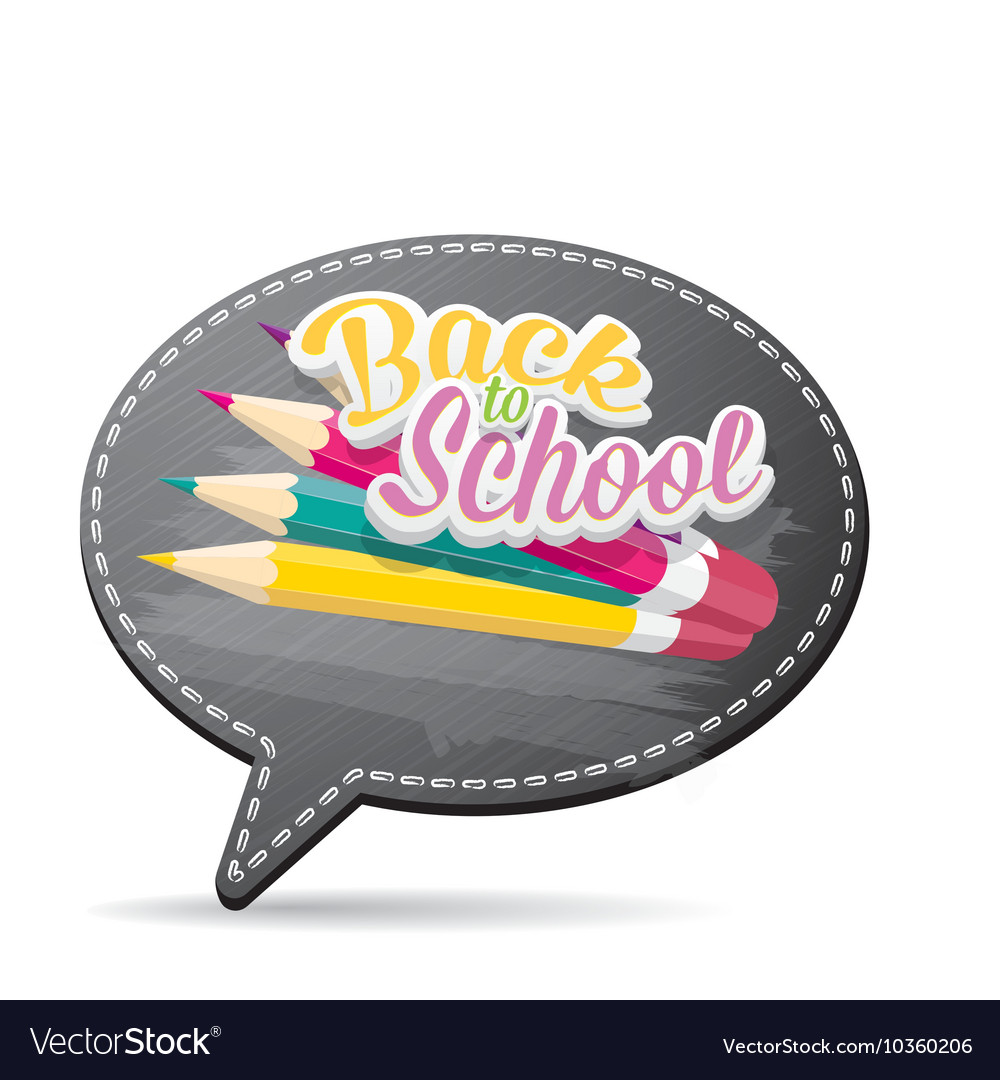 Back to school label on grey speech bubble vector