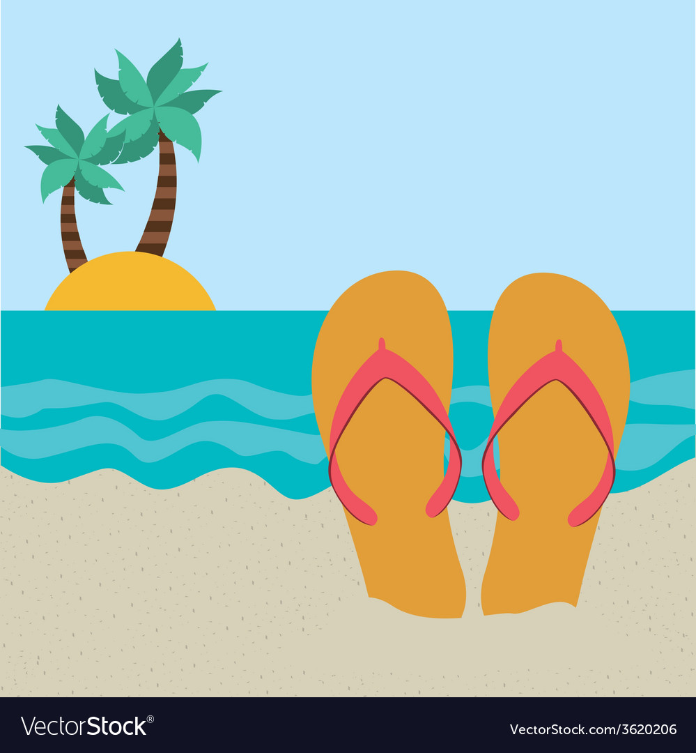 Beach icon vector