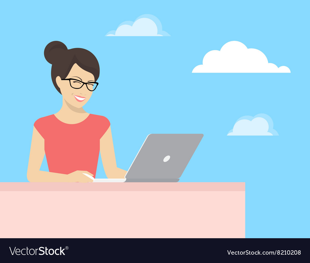 Young woman sitting with laptop and smiling vector