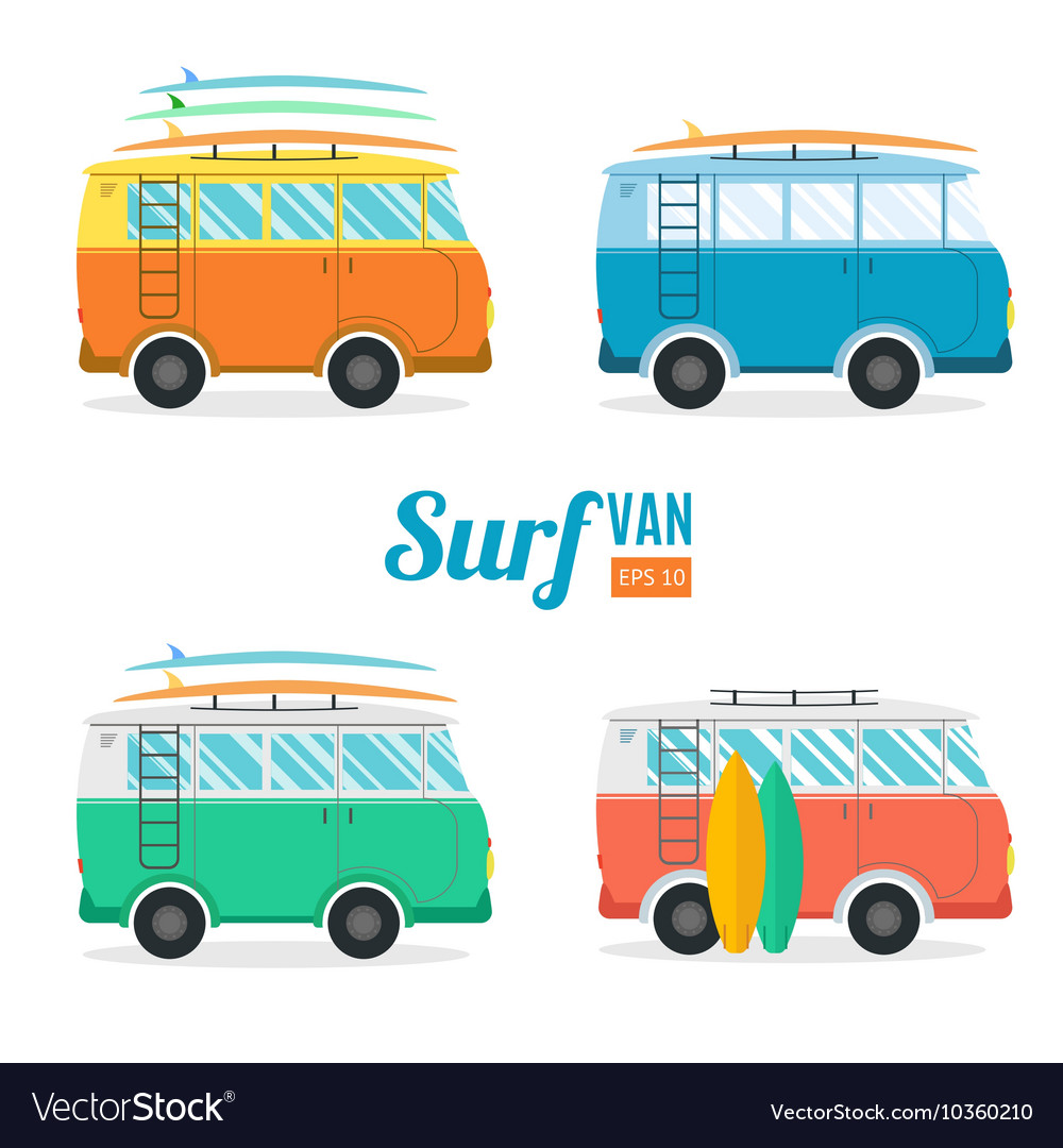 Surf van set flat design vector