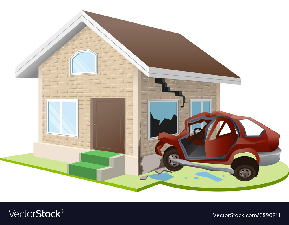 Car crashed into house home insurance vector