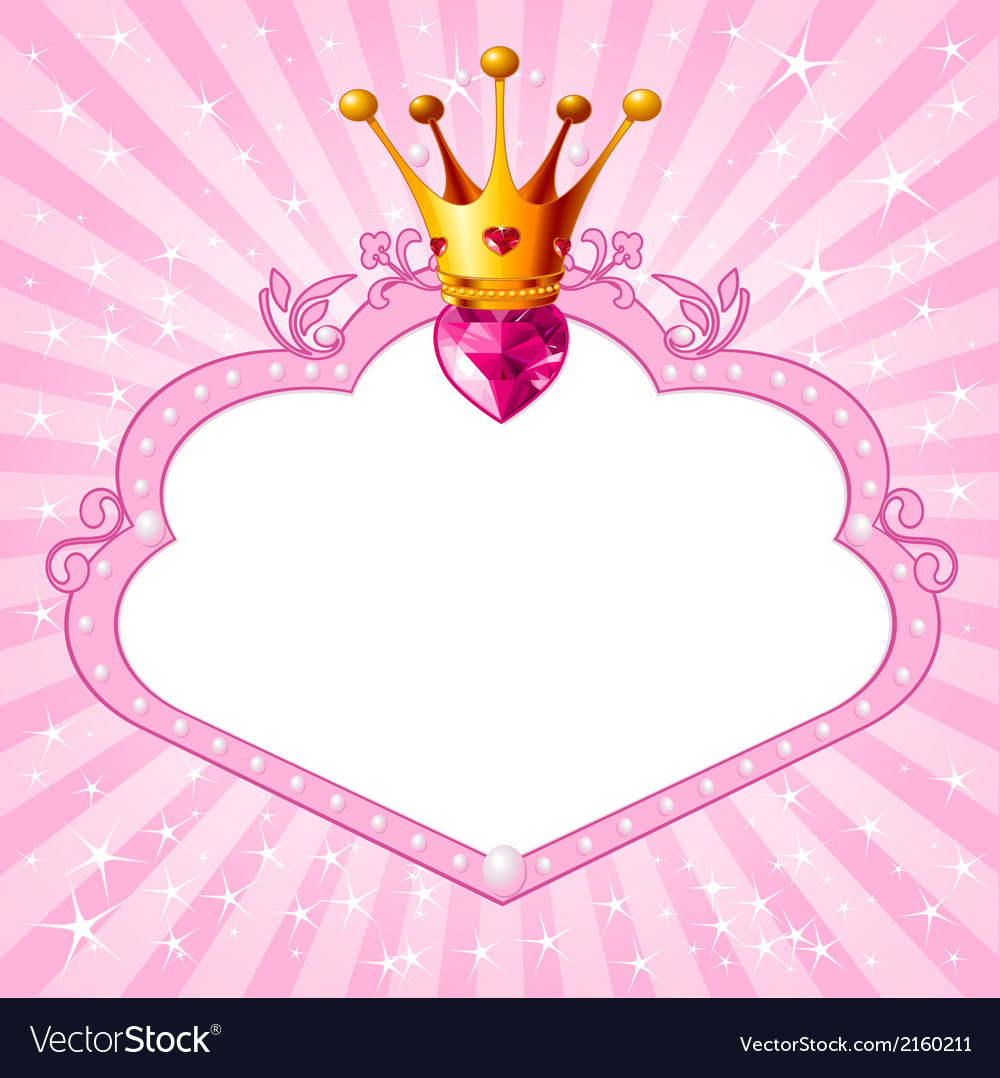 Princess pink frame vector