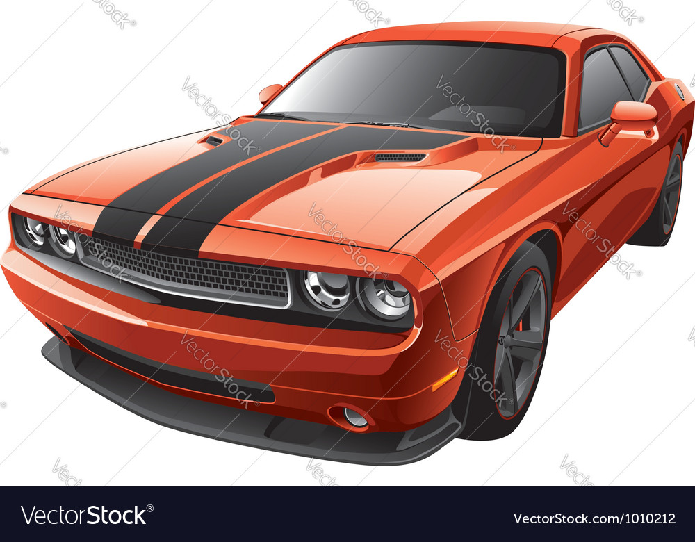 Orange muscle car vector