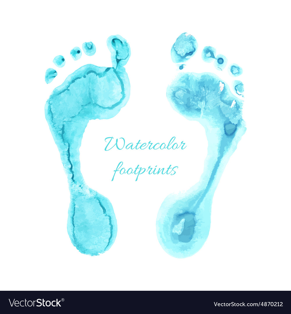 Watercolor children foots vector
