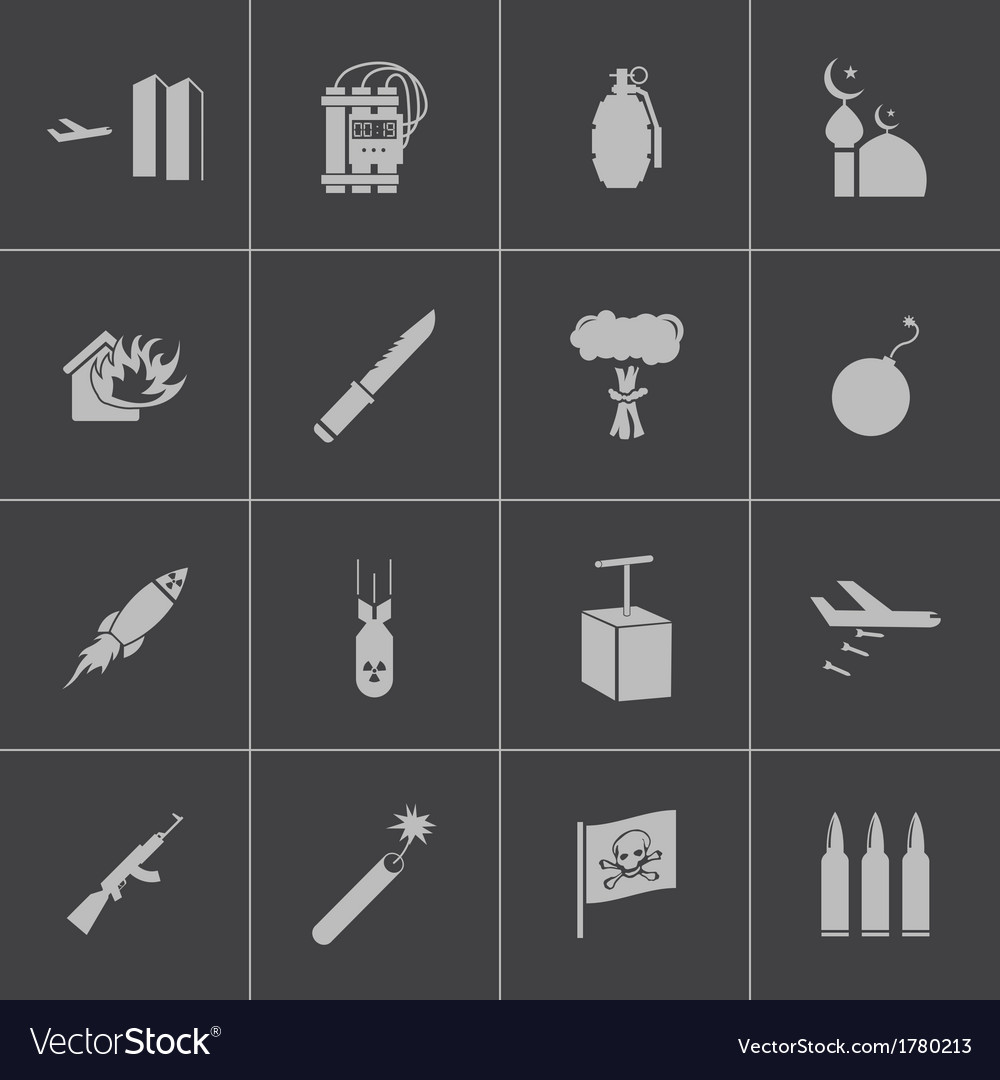 Black terrorism icons set vector