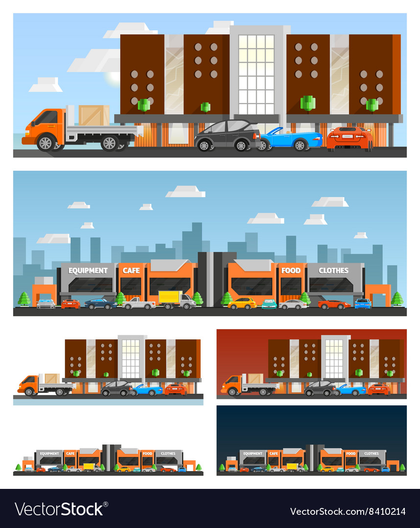 Shopping mall and city compositions vector