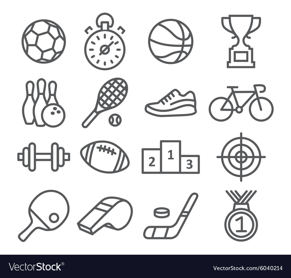 Sport icons in trendy linear style vector