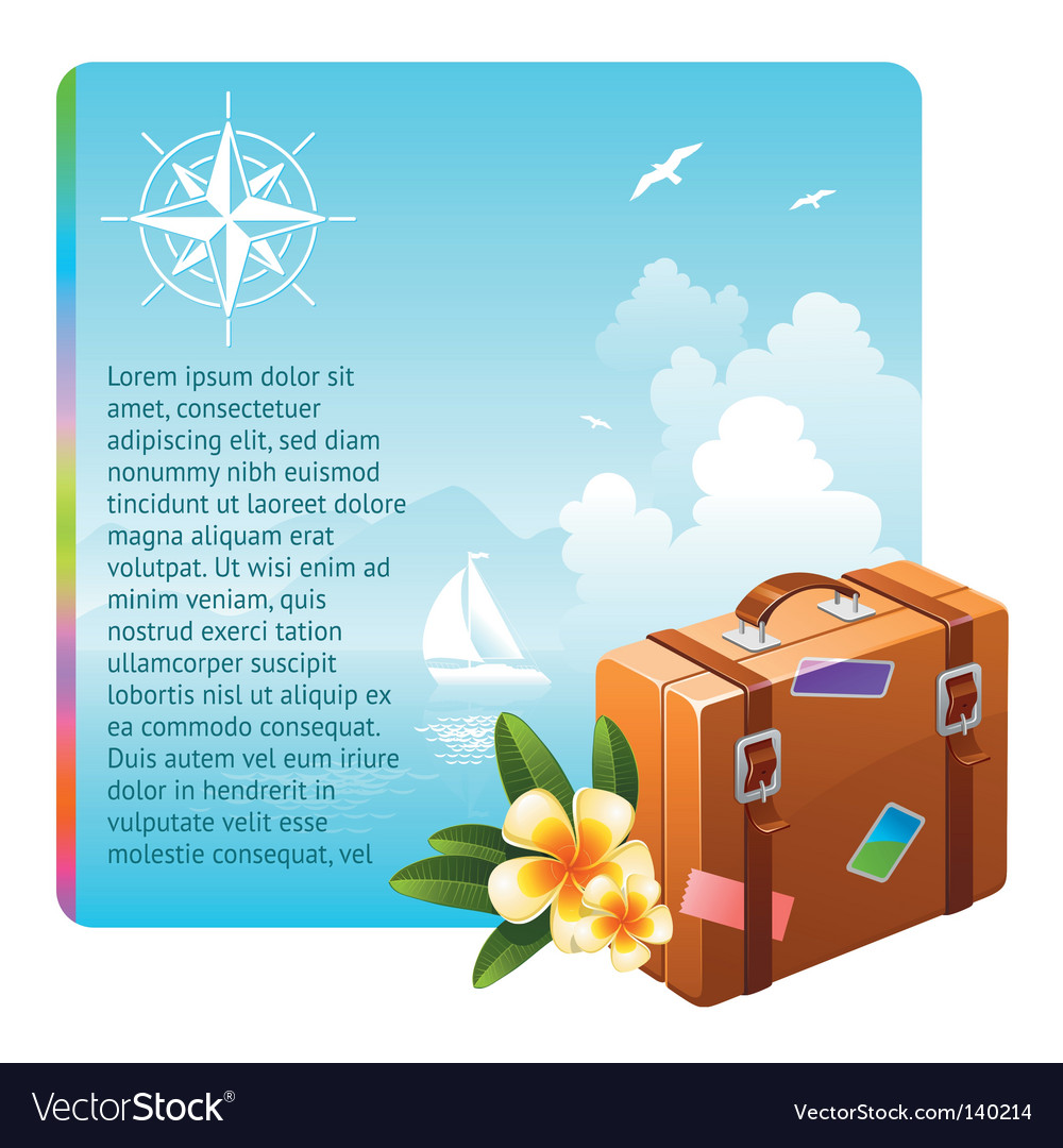 Travel suitcase and tropical flowers vector