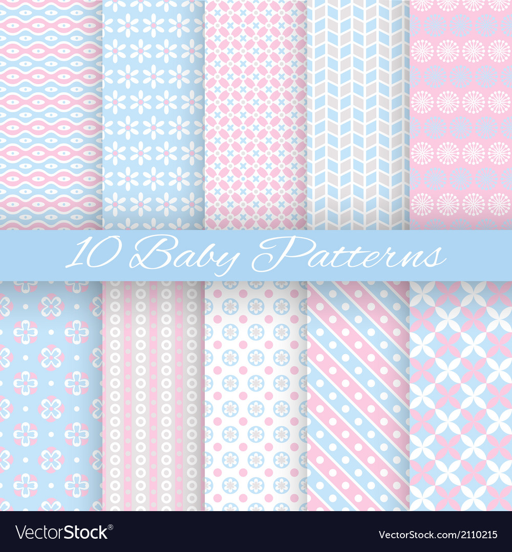 Baby pastel different seamless patterns tiling vector
