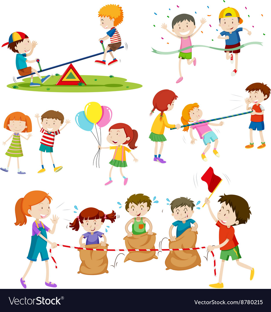 Children playing different games vector
