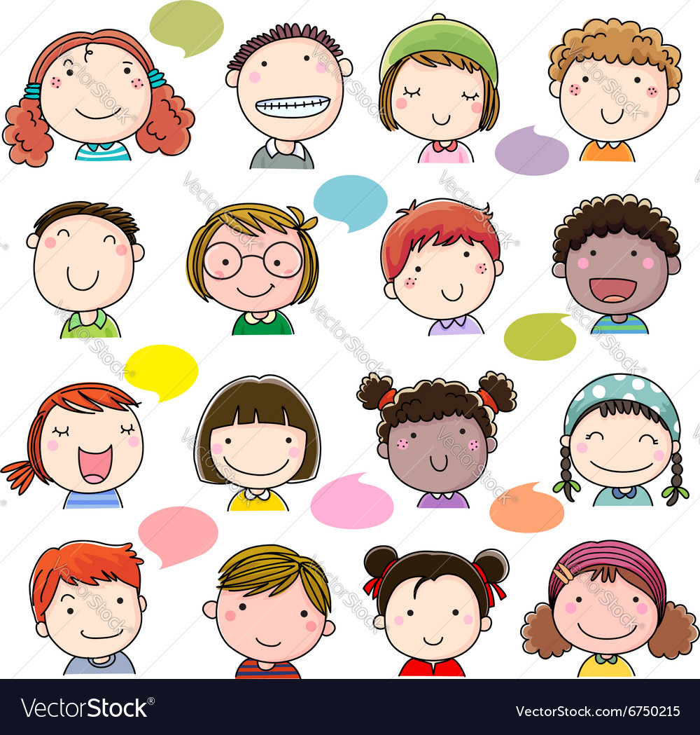 Hand drawn children faces set vector