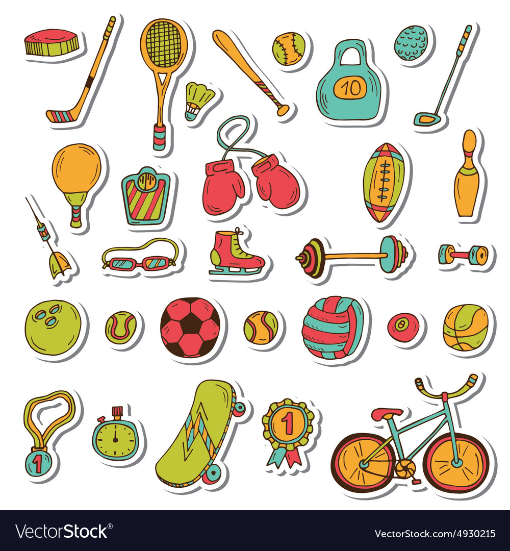 Healthy lifestyle sticker set sport icons hand vector