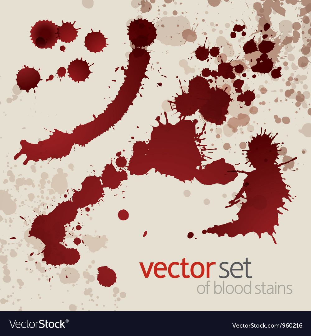 Splattered blood stains set 4 vector