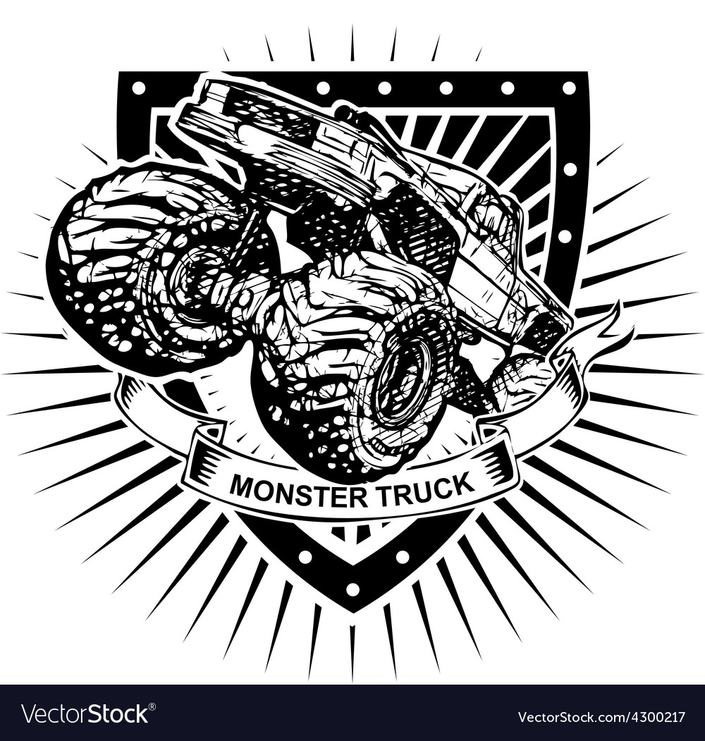 Monster truck shield vector