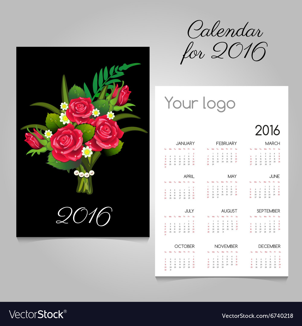 Black calendar 2016 with a bouquet of red roses vector