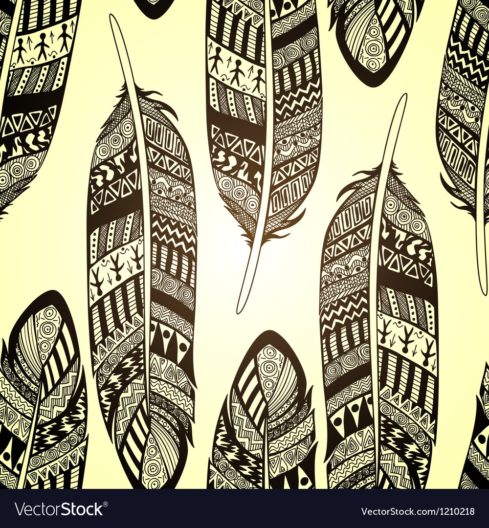 Seamless pattern with etno ornate feathers vector