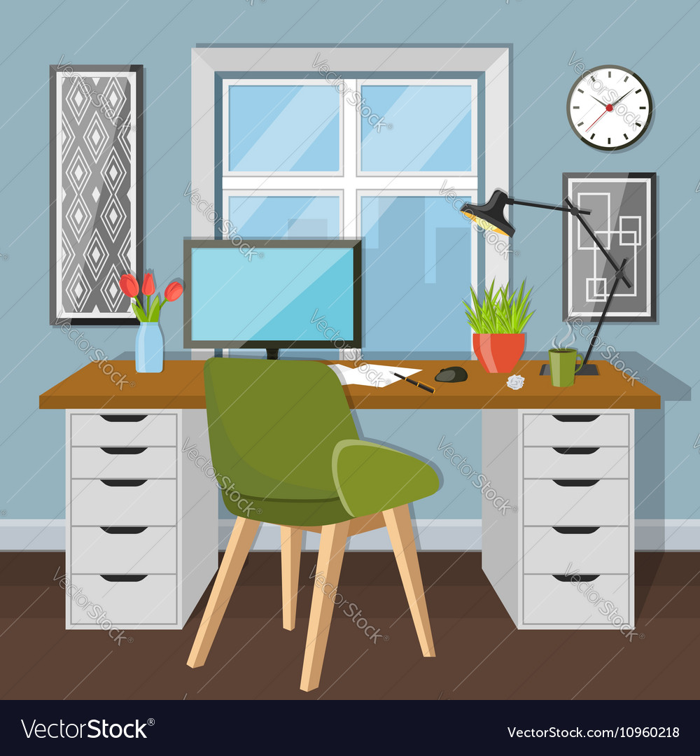 Workplace in room with window vector