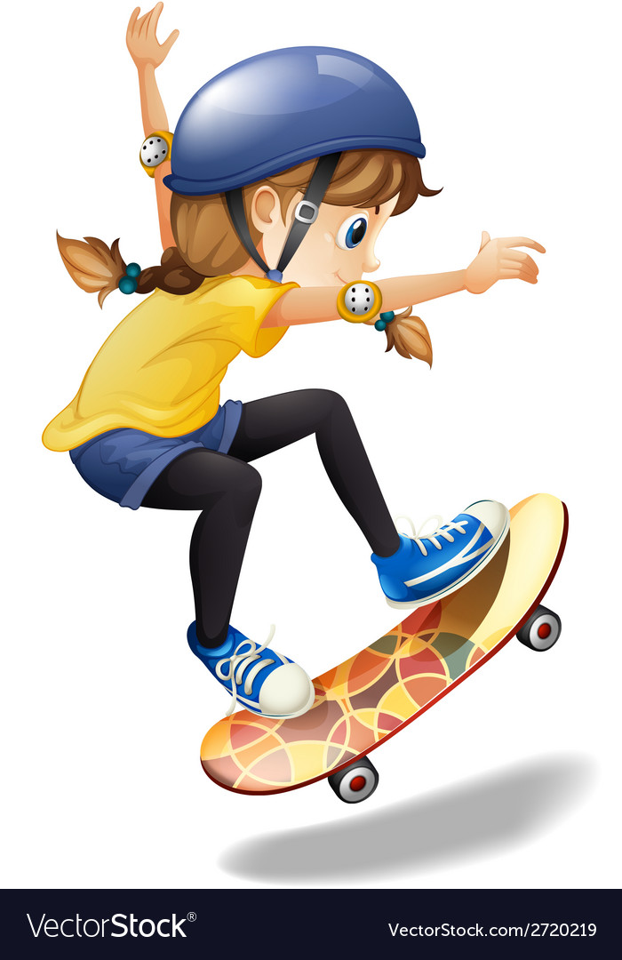 A female skateboarder vector