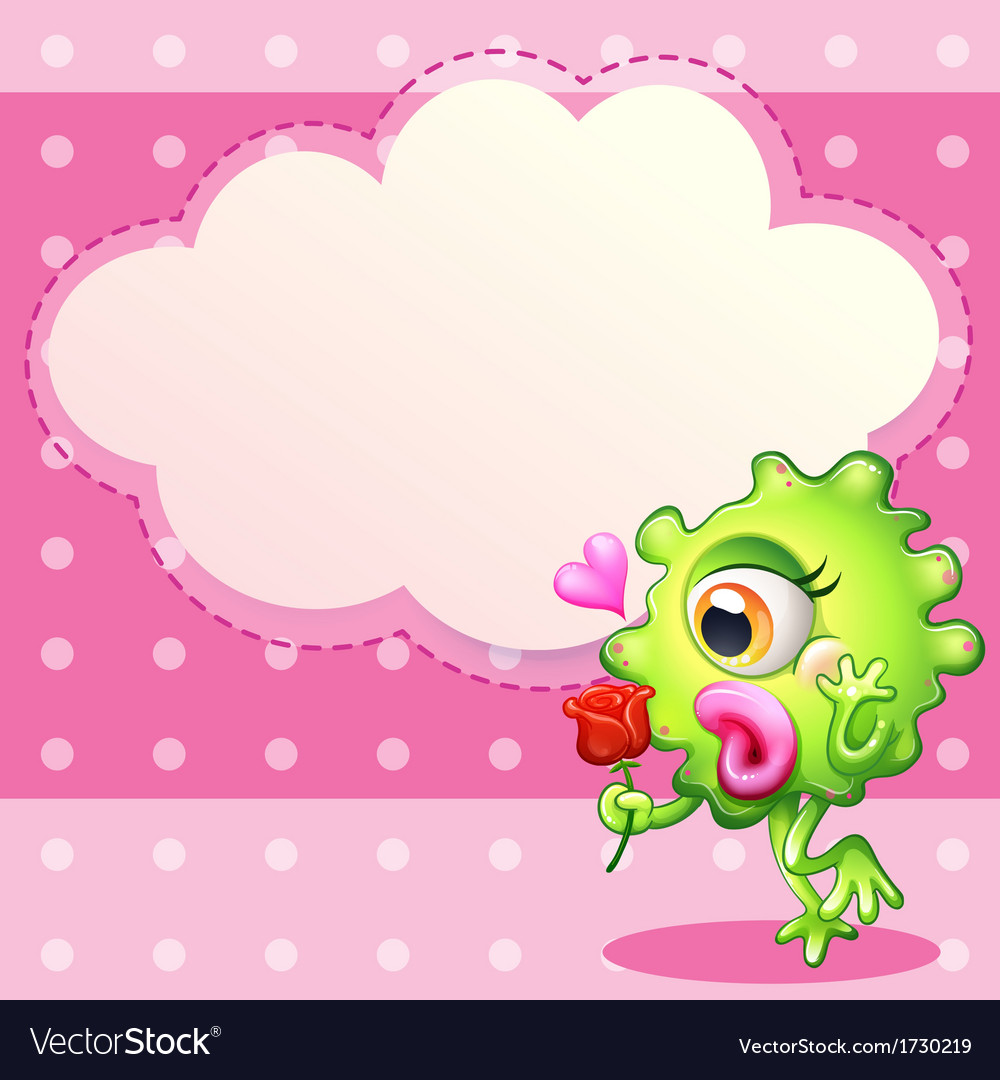 A green monster holding a red rose vector