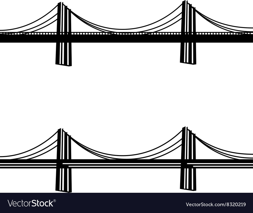 Metal cable suspension bridge black symbol vector