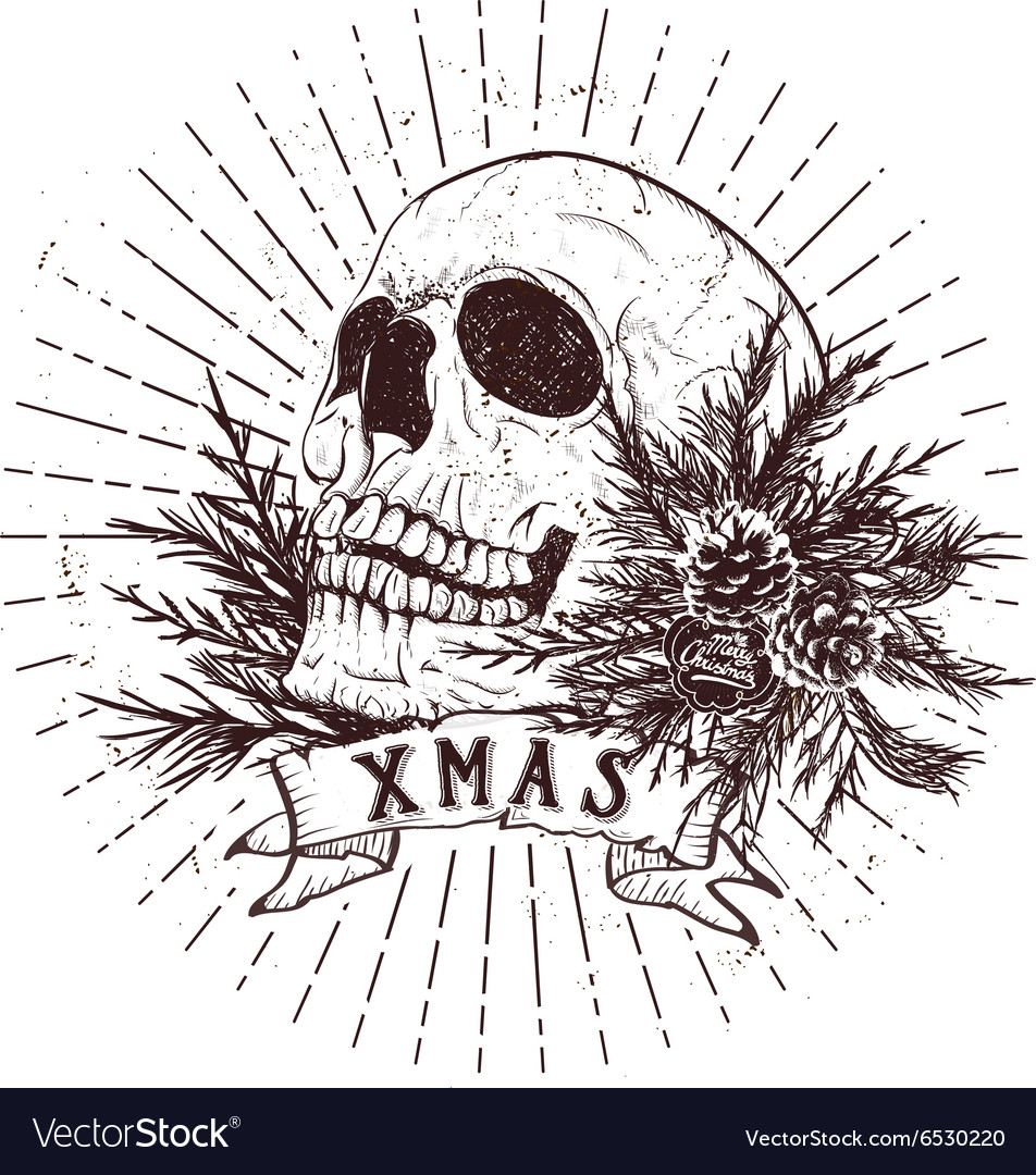 Christmas skull with fir branches vector