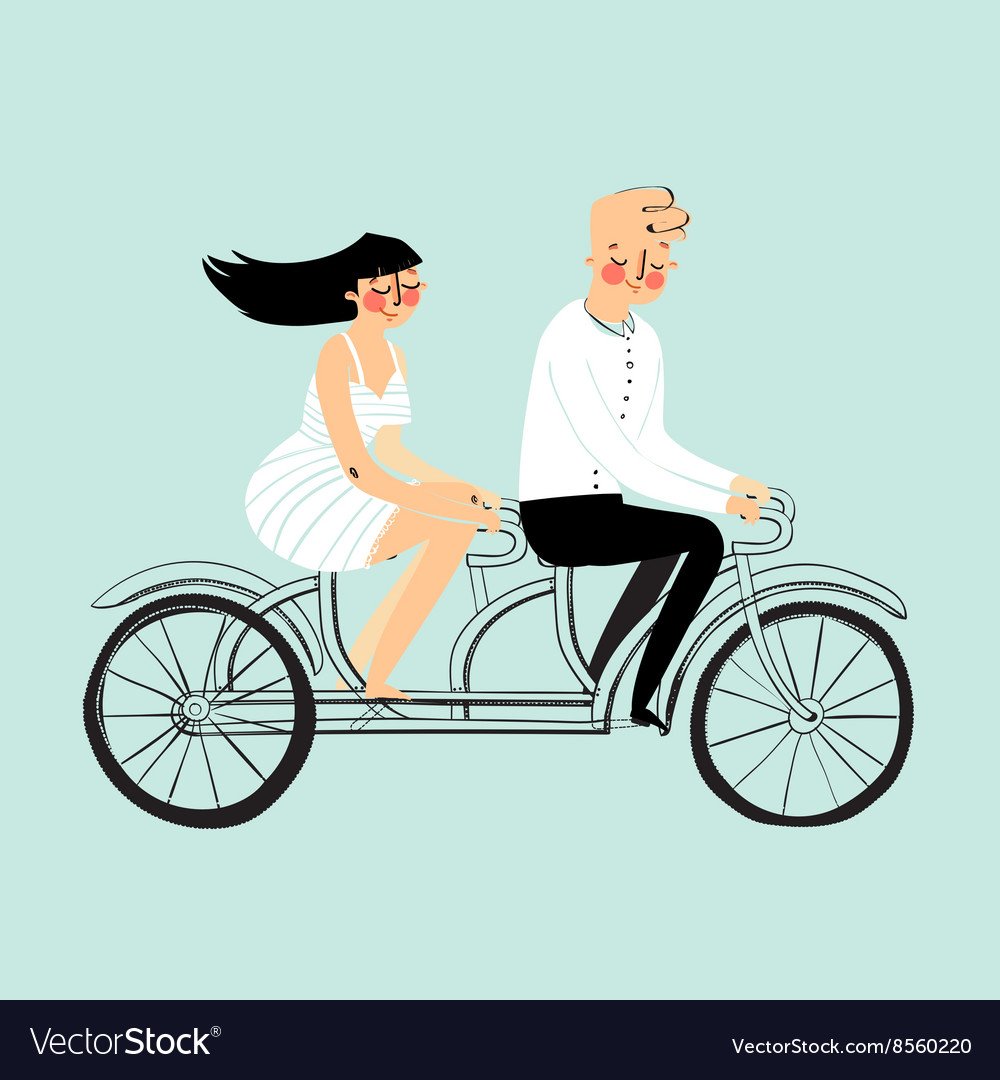 Flat design happy young man and woman vector