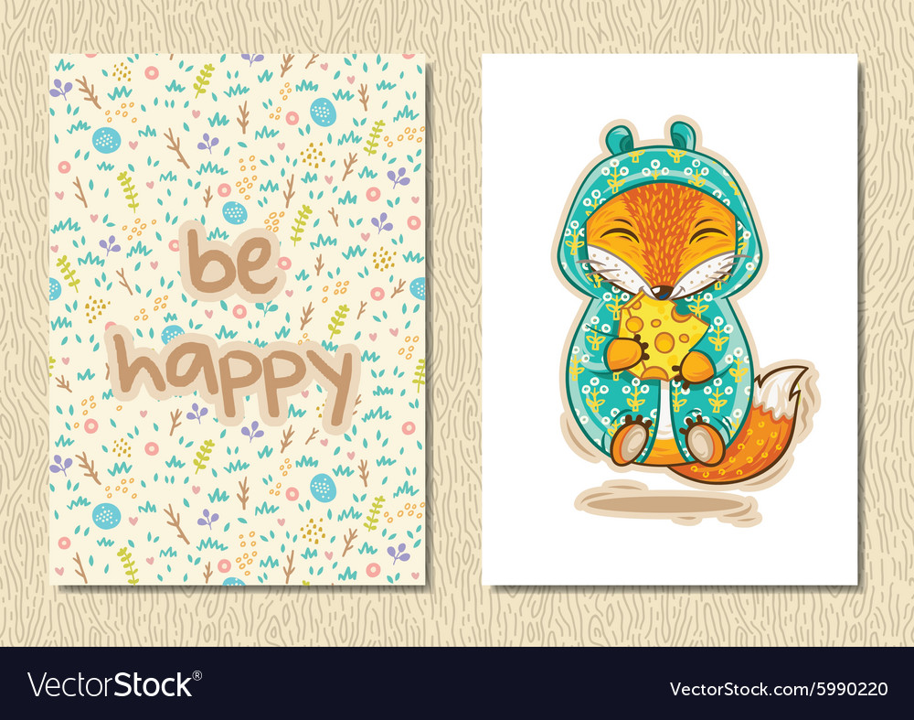 Stylish floral poster with happy fox in cartoon vector