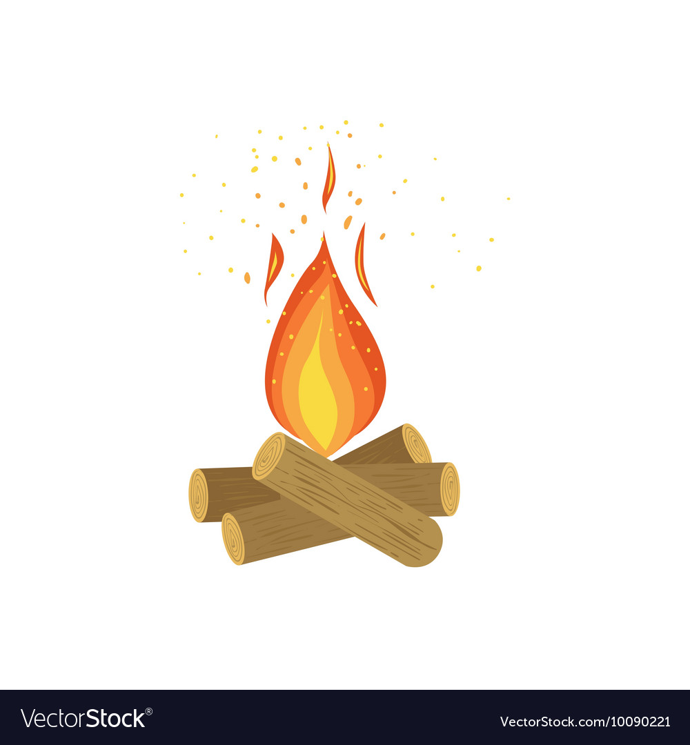 Camp fire on logs of wood vector
