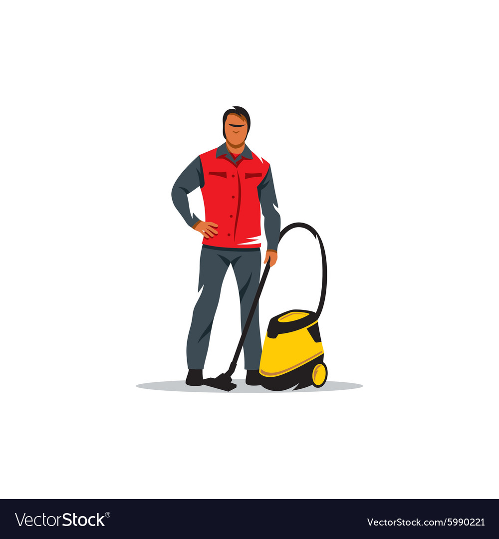Cleaning service sign man with a vacuum cleaner vector
