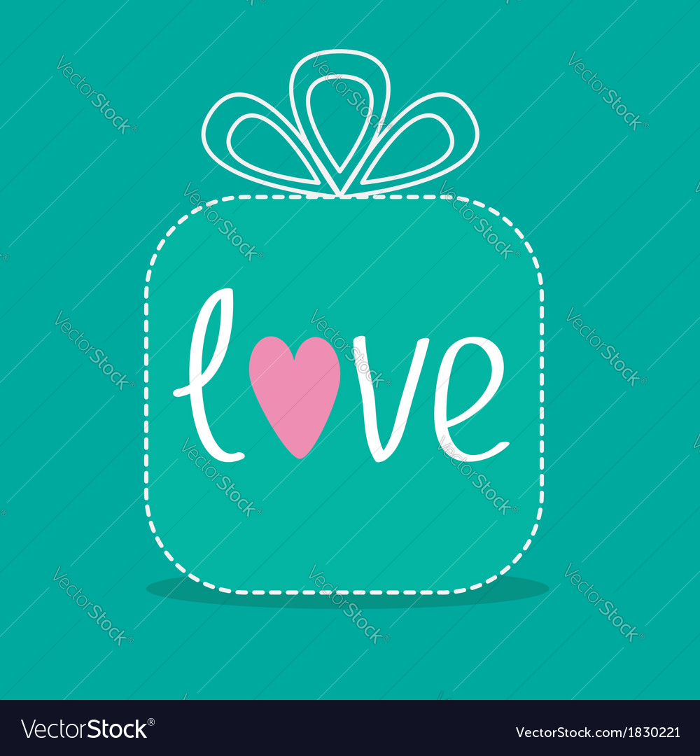 Gift box with word love dash line flat design vector