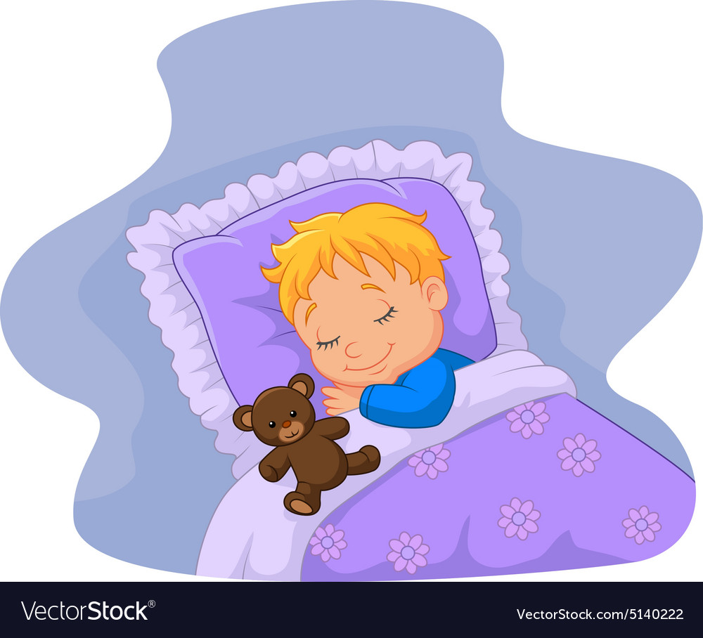 Cartoon baby sleeping with teddy bear vector