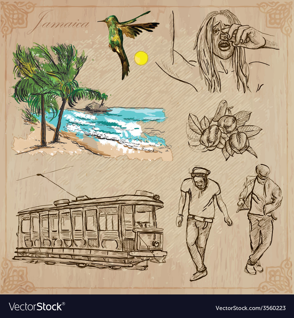 Jamaica travel  an hand drawn pack vector