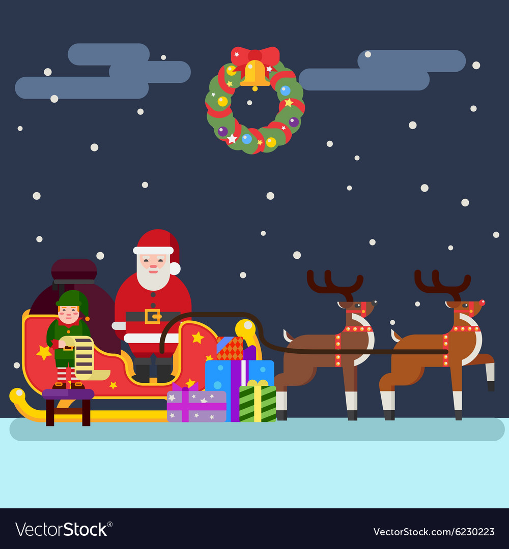 Santa clause christmas elf reindeer vector