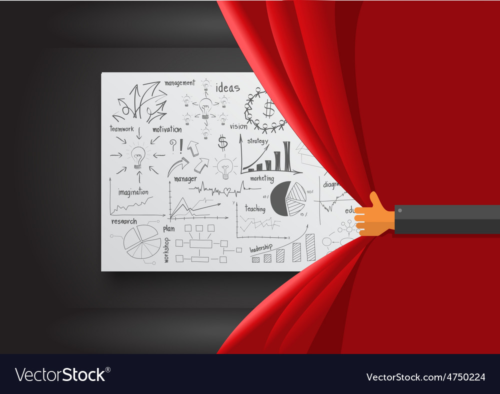 Hand opening red curtain vector