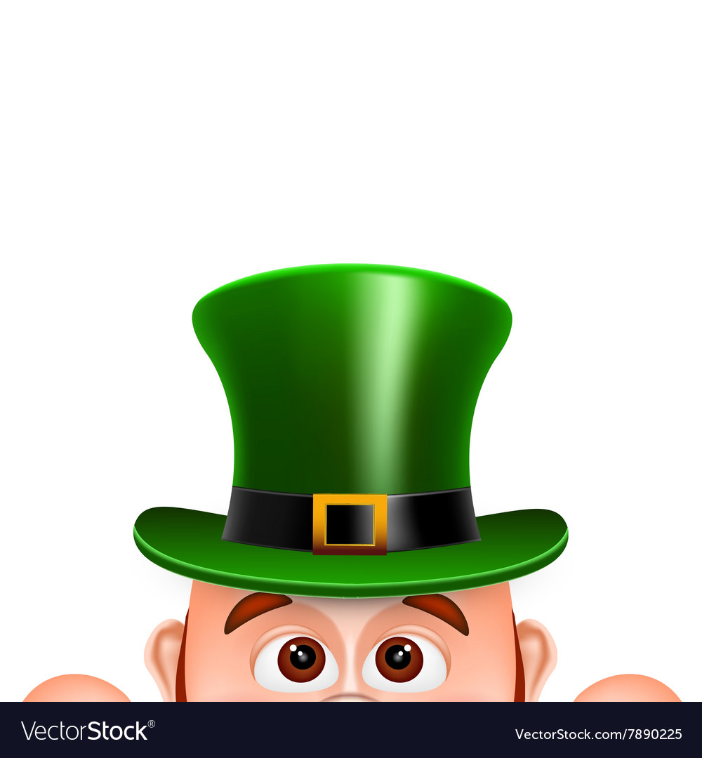 Cartoon leprechaun in a green hat card for saint vector