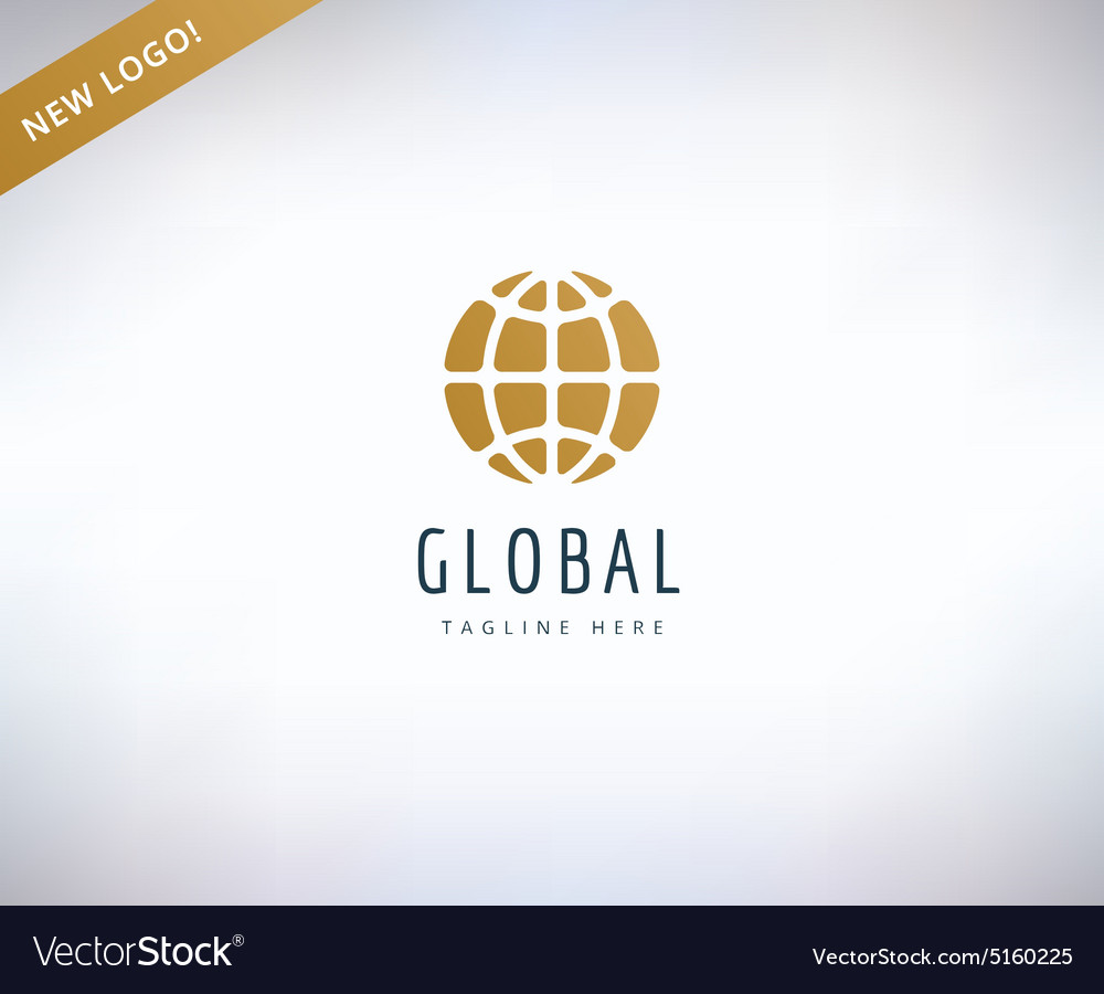 Earth map logo icon globe travel or nature and vector