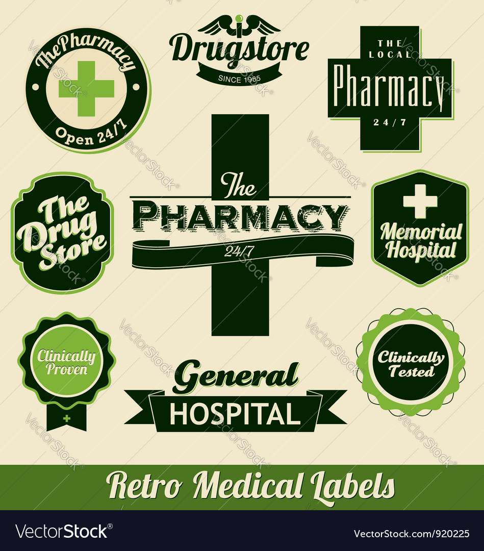 Retro medical labels vector