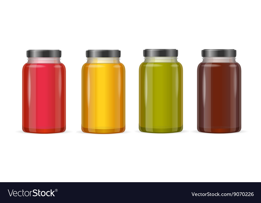 Jar glass with jam or juice vector